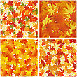 Seamless Autumn Leaves Pattern Set. Elegant Design With Maple, Oak And Birch Tree Leaves With Ideal Balanced Colors. Easy Use For Wallpaper, Pattern, Web Page Background, Textures. Vector Illustration