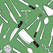 Seamless Background With Antique Kitchen Utensils And Tableware stock illustration
