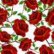 Seamless Background Design With Stylized Red Roses