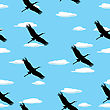 Seamless Background With Flying Birds And Clouds