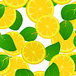 Seamless Background With Fresh Lemon Slices And Leaves, Pattern stock illustration