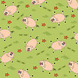Seamless Background With Funny Pigs, Vector Illustration