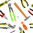 Seamless Background Of Hand Tools For Construction