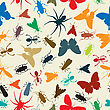 Seamless Background Illustration With Insects In Colors