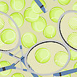 Seamless Background With Tennis Ball And Racket