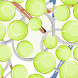 Seamless Background With Tennis Balls And Rackets