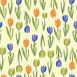 Seamless Background Of Watercolor Tulip Flowers. Vector Illustration