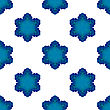 Seamless Blue Snowflake Pattern. Geometric Ornamental Background