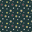 Seamless Christmas Pattern, Colorful Stars And Snowflakes On Dark Green Background.