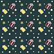Seamless Christmas Pattern, Colourful Gifts, Stars And Snowflakes On Dark Background.