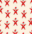 Seamless Christmas Pattern With Red Santa - Vector Illustration