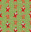 Seamless Christmas Pattern With Santa Claus Snow And Candy Cane, Xmas Background - Vector