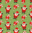 Seamless Christmas Pattern With Santa Claus Snow And Candy Cane, Xmas Background - Vector stock vector