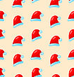 Seamless Christmas Pattern Santa Costume Red Hats - Vector