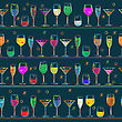 Seamless Composition With Cocktail Glasses, Background Illustration For Party