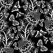 Seamless Floral Ornate Pattern With Butterflies