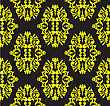 Seamless Floral Pattern Of Yellow On A Black Background stock vector