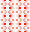 Seamless Geometric Background. Modern 3D Texture. Pattern With Realistic Shadow And Cut Out Of Paper Effect.White Embossed Zigzag With Red Lines