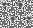 Seamless Geometric Background. Modern Monochrome 3D Texture. Pattern With Realistic Shadow And Cut Out Of Paper Effect.Geometrical Pattern With White Dotted Concentric Circles On Gray