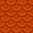 """Seamless Geometric Pattern In """"fish Scale"""" Design With Round Decorative Ornament stock illustration"""