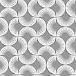 Seamless Geometric Pattern .Realistic Shadow Creates 3D Look. Light Gray Colors.Cut Out Paper Effect.Perforated Stripy Semi Circles