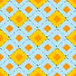 Seamless Ikat Pattern In Yellow And Blue Colors. Vector Tribal Background
