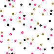 Seamless Ink Brush Painted Polka Dot Pattern. Vector Illustration. Black, Gold, Pink And White Grunge Pattern. Can Be Used For Tags, Flyers, Banners, Web, Print, Textile And Paper Designs