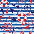 Seamless Nautical Pattern On Striped Background stock illustration