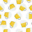 Seamless Oktoberfest Pattern With Ornate From Mugs Of Beer. Suitable For Fest Attributes, Pub Equipment And Other Use. Vector Illustration