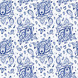 Seamless Paisley Background. Elegant Hand Drawn Vector Pattern stock illustration