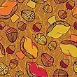 Seamless Pattern With Acorns, Mushrooms And Autumn Leaves. Good Idea For Textile, Wrapping, Wallpaper Or Cloth Design. Autumn Leaf Background. Vintage Illustration