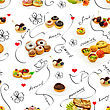 Seamless Pattern And Background With Desserts And Sketches stock photo