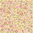 Seamless Pattern Background With Flowers, In Vector Format
