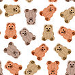 Seamless Pattern And Background With Teddy Bears. On A White Background