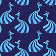 Seamless Pattern Of Beautiful Fairy Magic Peacocks