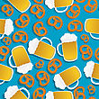 Seamless Pattern With Beer Mugs And Bavarian Pretzels stock vector