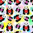 Seamless Pattern With A Big Panda. Romantic And Colorful Background