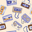 Seamless Pattern Of Cassette Tapes. Vector Background