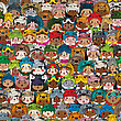 Seamless Pattern With Children Wearing Funny Masks In Colors