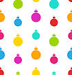 Seamless Pattern Christmas Balls White Background - Vector
