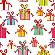 Seamless Pattern With Colorful Present Boxes. Vector Illustration For Christmas Or Birthday Card