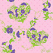 Seamless Pattern - Convolvulus Flowers Hearts On Polka Dot Pink Baskground stock vector