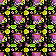 Seamless Pattern With Cup Of Tea And Lemons On A Black Background