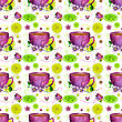 Seamless Pattern With Cup Of Tea And Lemons On A White Background