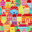 Seamless Pattern With Decorative Colorful Houses. City Endless Background