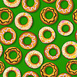 Seamless Pattern With Fresh Donuts. Graphic Arts. stock vector