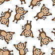 Seamless Pattern From Funny Cartoon Character Monkey With Smile And Hands Up Paws Over White Background. Hand Drawn In Front View Elegant Cute Design. Vector Illustration