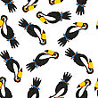 Seamless Pattern From Funny Cartoon Character Toucan Over White Background. Tropical And Zoo Fauna. Vector Illustration