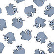 Seamless Pattern From Funny Cartoon Character Hippo With Wide Smile Over White Background. Tropical And Zoo Fauna. Vector Illustration
