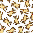 Seamless Pattern From Funny Cartoon Character Bear With Smile And Waving Paw Over White Background. Hand Drawn In Front View Elegant Cute Design. Vector Illustration stock illustration